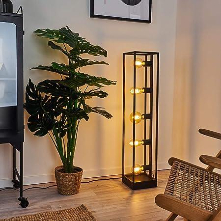 Lampadaire Wick en métal noir, luminaire rétro minimaliste idéal dans un salon vintage, avec interrupteur sur le câble, pour 5 ampoules E27 max. 40 Watt, compatible ampoules LED