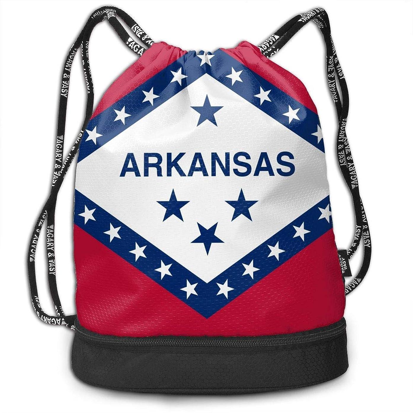 Tniy Flag of Arkansas Large Drawstring Sport Backpack,Sack Bag Sackpack