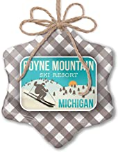 NEONBLOND Christmas Ornament Boyne Mountain Ski Resort - Michigan Ski Resort Grey White Black Plaid