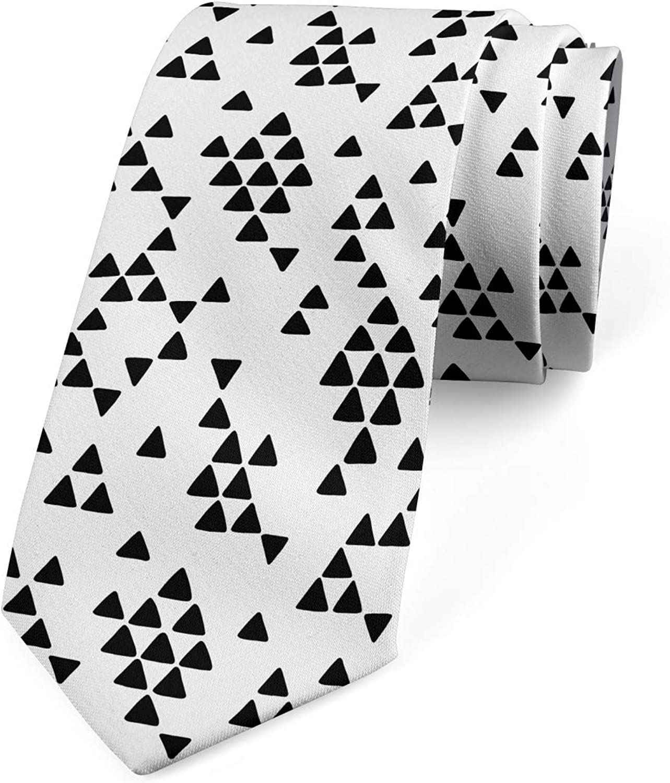 Lunarable Men's Tie, Tribal Triangle Print, Necktie, 3.7