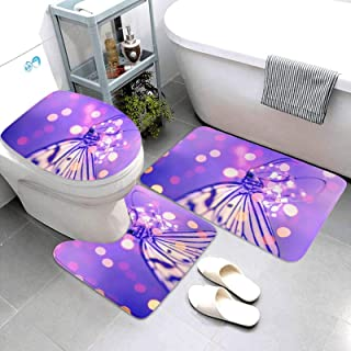 Tappeto da Bagno in Stile Oceano,Set 3 Pezzi Dolphin Print Tappeti da Bagno Antiscivolo,Tappetini Coperchio WC,Tappeto a Forma di U,Seashell Starfish Bath Toilet Mat Copriwater Copertura A 45x75CM