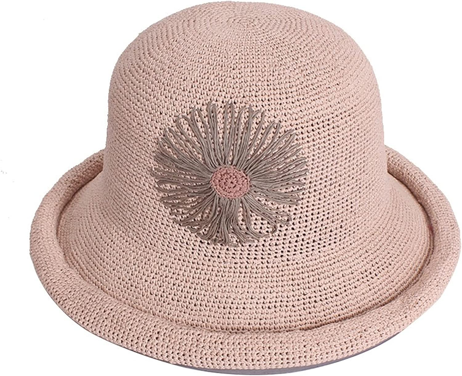 KTYX Women's Collapsible Fisherman Hat Curling Travel Sunhat Sunscreen Sun Hat Summer Hat (color   Pink, Size   57cm)