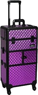 Sunrise Cittadella 2-In-1 Rolling Makeup Case Professional Nail Travel Organiser Box, Purple Diamond, 9.1kg