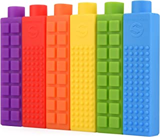 Chewy Block Sensory Chew Pencil Toppers, Chewable Stimulation, Textured Oral Support Boys, Girls, Children with Autism, Motor Skill, Special Needs (6-Pack)