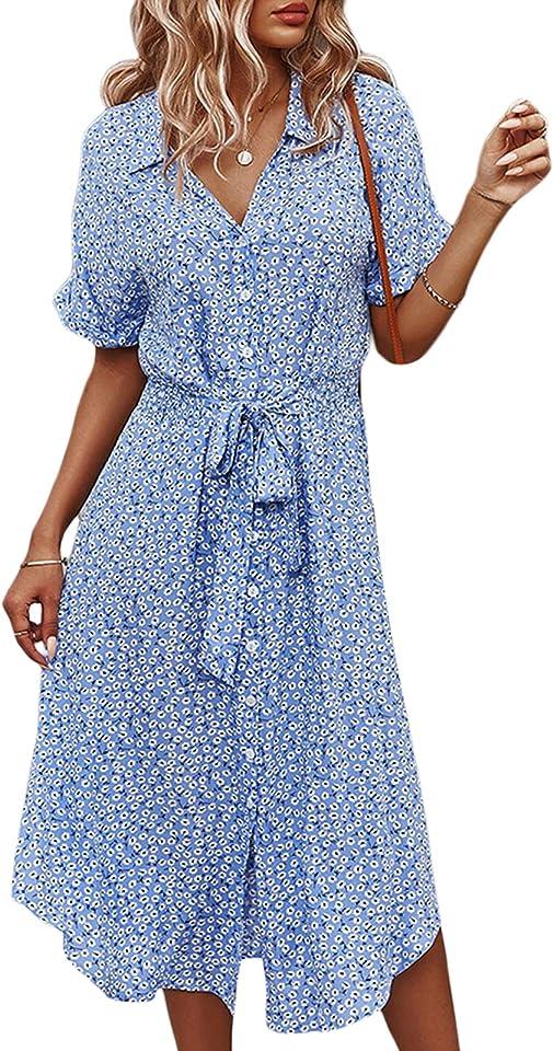 Summer Dresses Women's Short Sleeve V-Neck Beach Dresses with Button Placket Polka Dots Midi Shirt Dress Casual Dresses with Belt - Blue - M