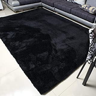 MBIGM Super Soft Modern Area Rugs, Living Room Carpet Bedroom Rug, Nursery Rug, Black, 63 inches X 78.7 inches