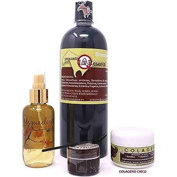 Kit completo Yeguada la Reserva obtén cabello largo y hermoso/El shampoo de caballo de uso humano anticaida y crecimiento del cabello, con colágeno chico mas Yegualash y Yeguaelixir.