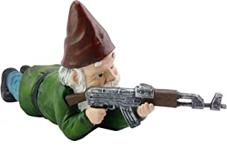 Military Garden Gnome with an AK47   Funny Army Statue, Perfect for Gun Lovers, Military Collectors, Combat Enthusiasts & Army Men   Indoor & Outdoor Lawn Yard Decor (Prone, Traditional)
