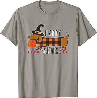 Funny Happy Halloweenie Dachshund Halloween Buffalo Plaid T-Shirt