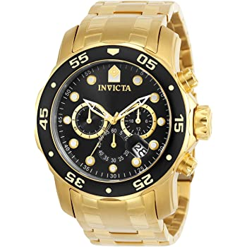 Invicta Men's Pro Diver Scuba 48mm Gold Tone Stainless Steel Chronograph Quartz Watch, Gold/Black (Model: 0072)
