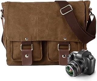 Neumora Camera Bag Messenger Bag with Shockproof Insert & Tablet Pocket for Sony Canon Nikon (Brown)