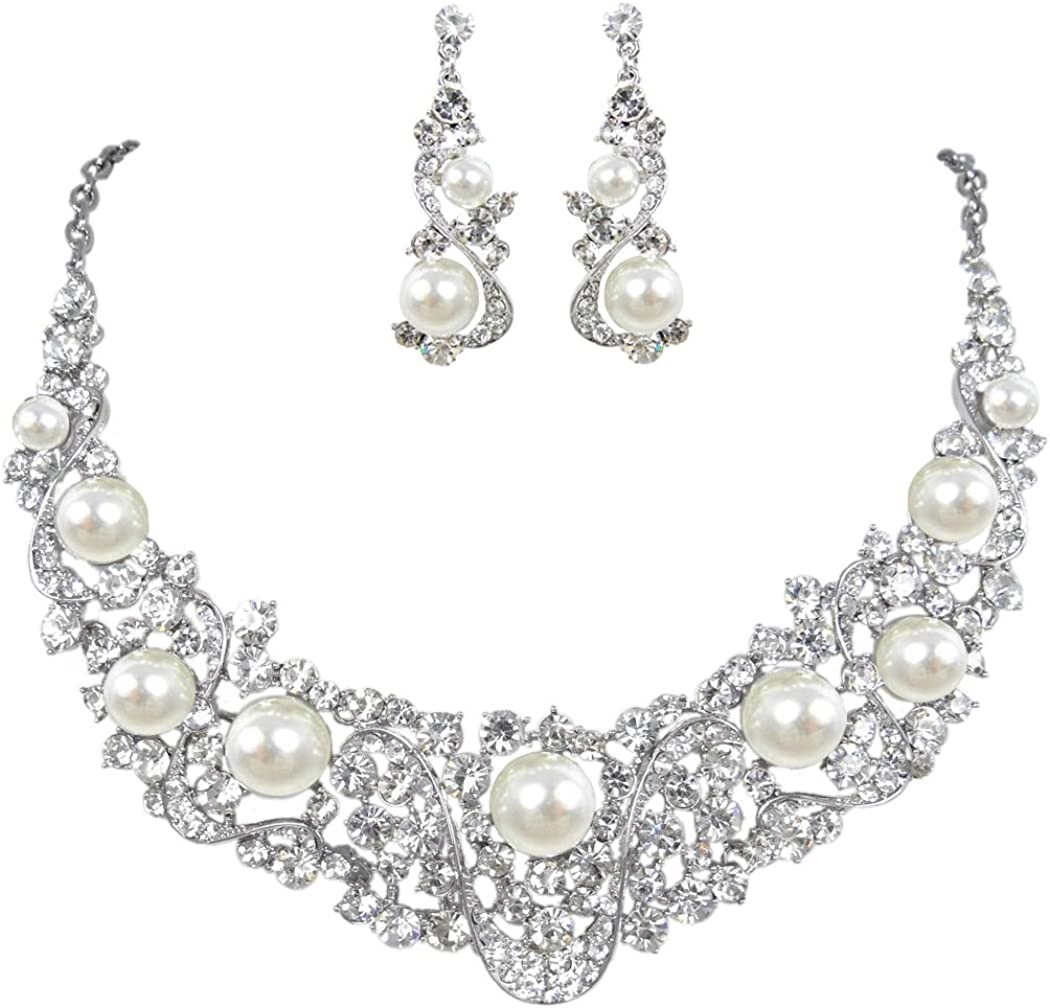 EVER FAITH Flower Ribbon Ivory Color Cream Simulated Pearl Austrian Crystal Necklace Earrings Set