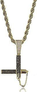 Hiphop Necklace, الهيب هوب مثلج خارج بلينغ nunchaku قلادة 18 كيلو الذهب مطلي سلسلة قلادة للرجال النساء