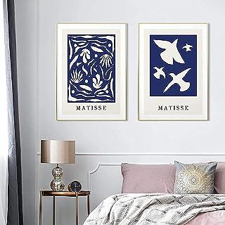SHKHJBH Mur Photos 2 pièces 60x80cm sans Cadre Style Moderne Abstrait Matisse Silhouette Bleu Rêves Affiche Nordique Impre...