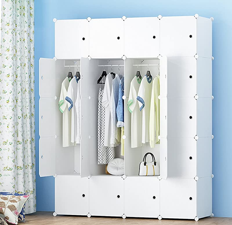 MEGAFUTURE Portable Wardrobe For Hanging Clothes Combination Armoire Modular Cabinet For Space Saving Ideal Storage Organizer Cube For Books Toys Towels 20 Cube