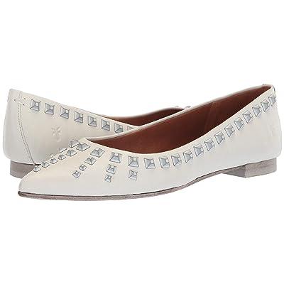 Frye Sienna Deco Stud Ballet (White Polished Soft Full Grain) Women