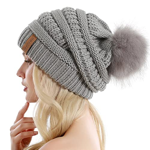b1b20892538 QUEENFUR Women Knit Slouchy Beanie Chunky Baggy Hat with Faux Fur Pompom  Winter Soft Warm Ski