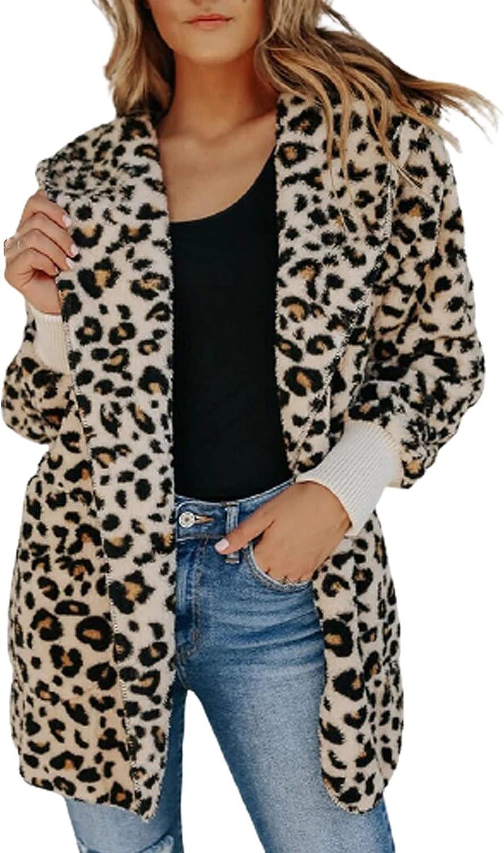 Muxing Women's Leopard Coat Faux Fur Fuzzy Warm Winter Oversized