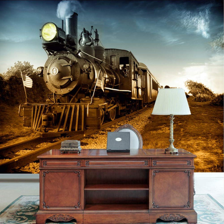 Fushoulu Mural Papel Tapiz 3D Personalizado Tv Fondo Parojo Vintage Mural Grande Tren De Vapor-200X140Cm