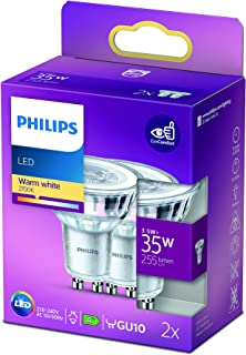 Philips LED Classic Light Bulb 2 Pack [GU10 Spot] 3.5W - 35W Equivalent, Warm White (2700K), Non Dimmable