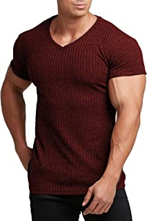 Men's Muscle T Shirts Stretch Short Sleeve V Neck Bodybuilding Workout Tee Shirts