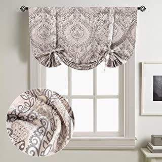 """jinchan Linen Textured Curtains Tie Up Shade Drapes Damask Printed Paisley Rod Pocket Multicolor Medallion Flax Living Room Window Curtain 1 Panel 45"""" L Grey"""