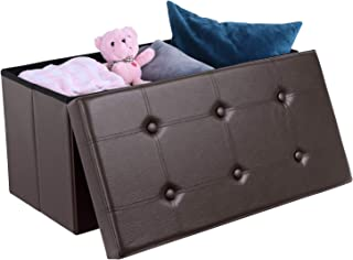 Homfa 30 Inches Folding Ottoman with Storage, Faux Leather Toy Chest Bench, Water-Proof, Comfortable Material, Footrest Coffee Table for Bedroom and Living Room, 30 L x 15 W x 15 H Inches - Brown