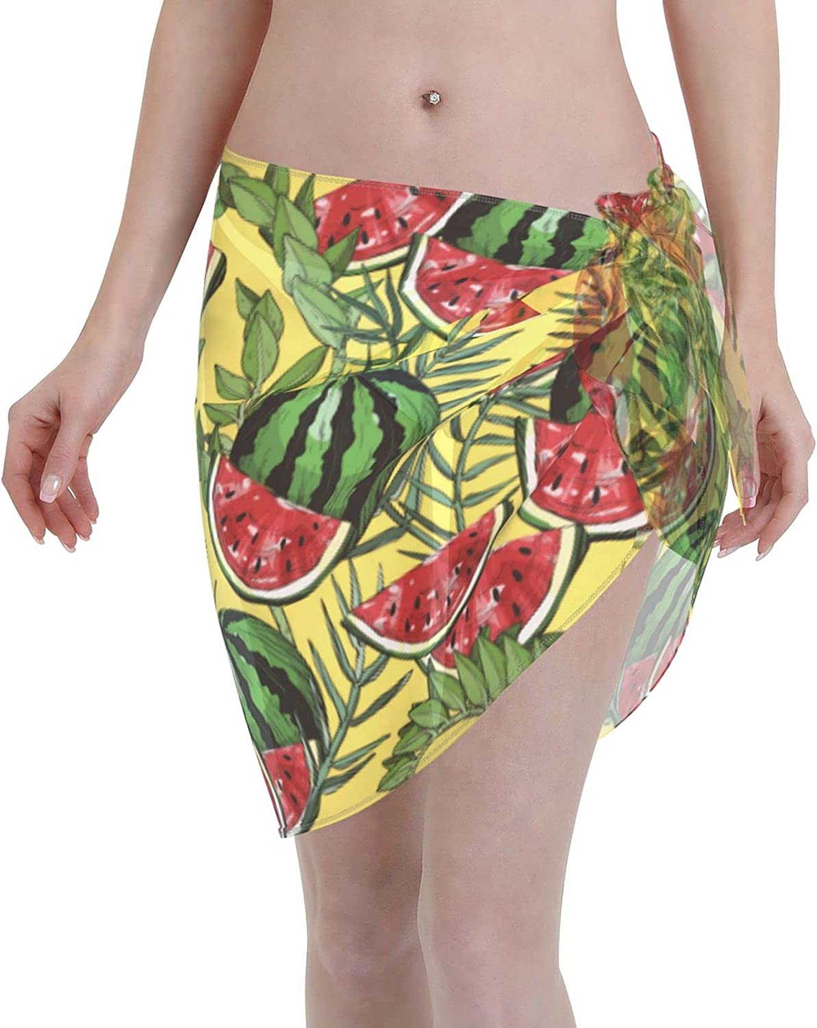 marat Women's Wrap Skirt with Watermelons and Leafs Tie Up Waist Swimsuit Cover Ups Sarong Swimwear Beach Summer Shawl 55.1 X 18.6 Inch Black