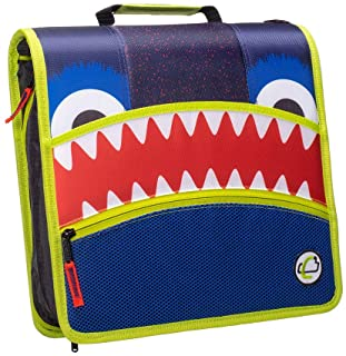 Case-it D-146-ME Mighty Zip Tab Monster Eye Zipper Binder, 3-Inch O-Ring with 5 Tab Expanding File, Navy Blue