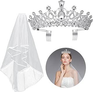 2PCS Frcolor Rhinestone Tiara Crown Velo con peine Diseño elegante Rhinestone Ribbon Comb Crown Velo de comunión