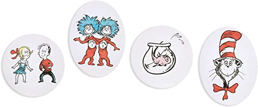 Patton Wall Decor Dr. Seuss 8x8 Cat in The Hat 4 Piece Stretched Canvas Art Set Wall Decor, Red