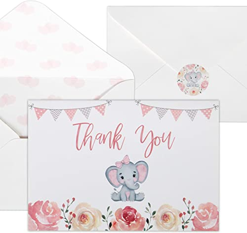 Baby Shower Thank You Cards for Girls. 50 Pack Pink Watercolor Elephant Baby Girl Cards. Cute Thank You Notes with En...