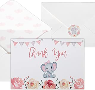 Baby Shower Thank You Cards for Girls. 50 Pack Pink Watercolor Elephant Baby Girl Cards. Cute Thank You Notes with Envelopes & Stickers.
