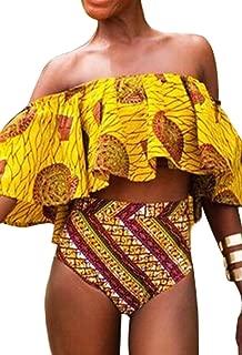 Women's Off Two Piece Flounce Bikini African Swimsuit Bathing Suit