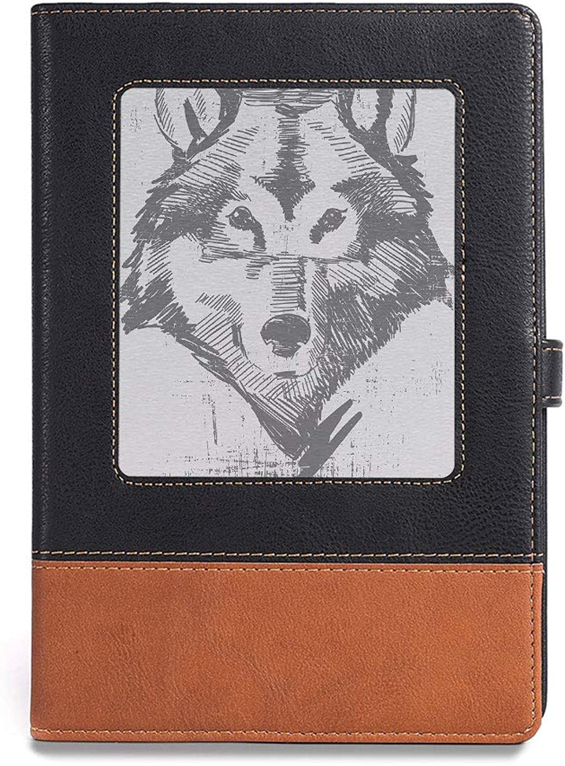 Premium Thick Paper,Wolf,A5(6.1  x 8.6 ),Easy to Write, Draw or Sketch,Monochrome Sketch Style Detailed Animal Pattern Grunge Head,
