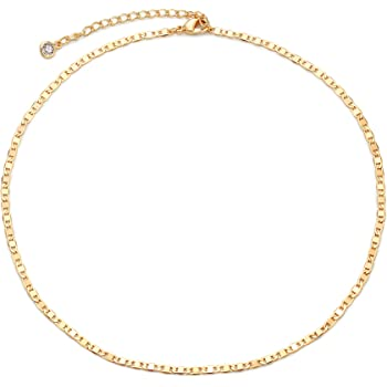 Gold Chain Choker Necklace,14K Gold Plated Dainty Cute Lip Chain Long Necklace Delicate Fashion Choker Necklace Jewelry Gift for Women