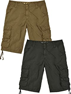 Sawadikaa Mens Casual Cotton Twill Cargo Shorts Pant Lightweight Outdoor Wear Pants Khaki 34