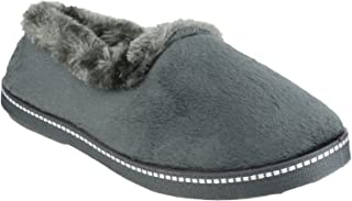 Mirak Ladies Dijon Faux Fur Accented Textile Stitch Slipper Black