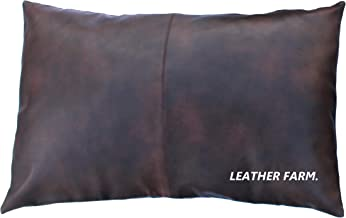 Leather Farm Thick Genuine Leather Pillow Cover Brown(Dual-Tone) Decorative for Couch Throw Pillow Case Brown(Dual-Tone) Leather Cushion Cover Solid Color (12''x20'')