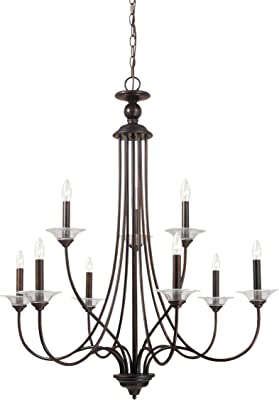 Sea Gull 31319EN-710 Lemont Chandelier, 9-Light 31.5 Total Watts, Burnt Sienna