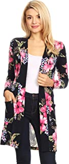 Women's Solid & Print Casual Comfy Long Sleeve Loose Fit Open Front Side Pocket Cardigan
