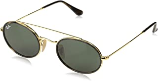 RAY-BAN RB3847N Oval Double Bridge Sunglasses, Gold/Green, 52 mm