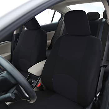 FH Group Universal Fit Full Set Flat Cloth Fabric Car Seat Cover, (Black) (FH-FB050114, Fit Most Car, Truck, Suv, or ...
