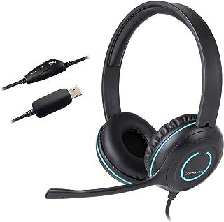 Cyber Acoustics - Auriculares estéreo USB con Auriculares y micrófono con cancelación de Ruido para PC y Otros Dispositivos USB (AC-5008)