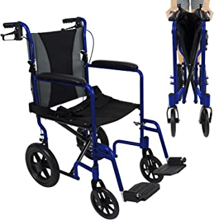 Vive Folding Transport Wheelchair - Aluminum Chair with Hand Brake - Lightweight, Foldable, Adjustable Travel Manual Mobility Aid - Ultralight Comfortable 19 Inch Wide Bariatric Handicap Transfer Seat