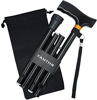 YAMTHR Cane, Folding Walking Cane with Carrying Case for Men Women Fathers Mothers Gifts Portable Walking Stick Balancing Mobility Aid Adjustable Collapsible T Handles