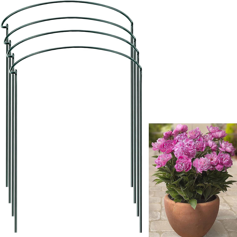 YANDH Plant Support Stakes Metal Garden Trellis Peony Plant Support Ring Cage Plant Supports for Tomato, Vegetable, Hydrangea, Rose, Flowers Vine (10