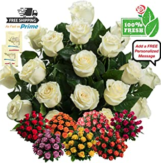 Flowers for delivery on Amazon Bouquet of 25 White Fresh Roses Delivered with Free Flower Food Packet. Long Stem Rose Bud Form. Guaranteed Best Flower Gift for Birthday Anniversary Wedding