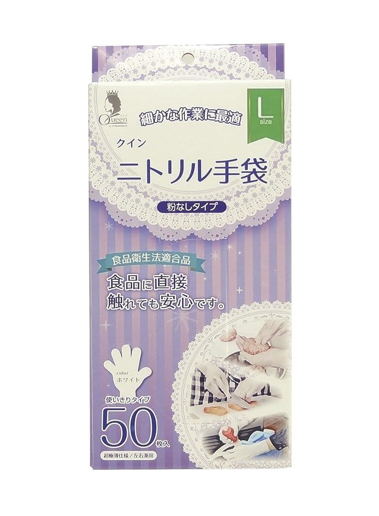 プロトタイプ失敗繰り返す宇都宮製作 クイン ニトリル手袋(パウダーフリー) L 50枚