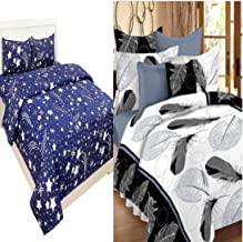 IVAZA New 144 TC Polycotton bedsheets Combo Double Bed Set 2 Double Bedsheet with 4 Pillow Cover - Multi Print